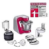 Bosch MUM5 MUM58420 CreationLine Küchenmaschine (vielseitig einsetzbar, große Edelstahl-Schüssel (3,9 l), Mixer, Durchlaufschnitzler, 1.000 Watt) rot/silber