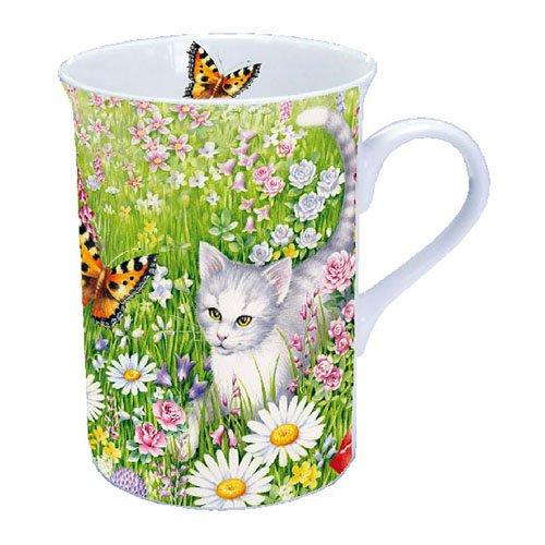 Taza de café/taza/taza–Summer Meadow–Gato y mariposa–Ambiente
