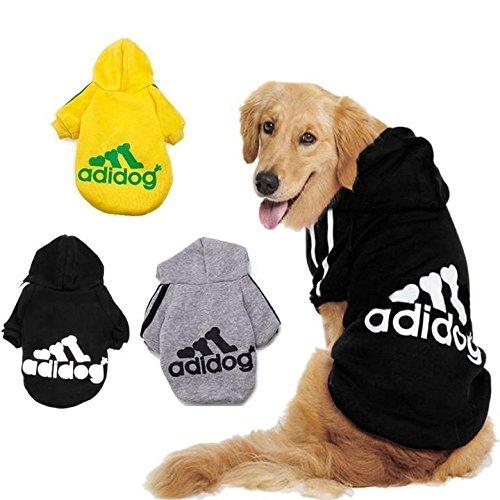 """KayMayn Hunde-Pullover mit Kapuze, Aufschrift \""""Adidog\"""", sportlicher Look, 7 Farben, in den Größen S bis 9XL schwarz Schwarz  6XL"""