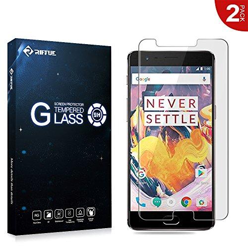 RIFFUE OnePlus 3T Protector de Pantalla, OnePlus 3T Cristal Vidrio Templado Glass Premium 9H Dureza 3D Touch Alta Definicion 0.26mm Screen Protector Film para OnePlus 3T 2 Unidades