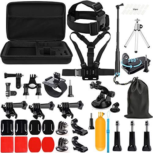 SHOOT 45-in-1 Accessori Kit Impermeabile Bastone per GoPro 7 Nero Argento Bianca/Hero 6/5/4/3+/3/HERO(2018)/Fusion DBPOWER Apeman Campark WiMiUS YI CAMKONG e Altro Action Fotocamere