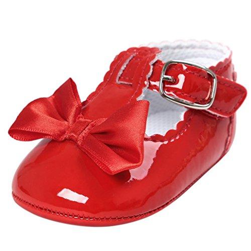 BYSTE Scarpe da Bambino Estate Bowknot Scarpe da Principessa Scarpe da Culla Anti Scivolo Fondo Morbido Scarpe per Bambini Neonato Toddler Scarpine Primi Passi 0-18 Mesi (6-12 Mesi, Rosso)