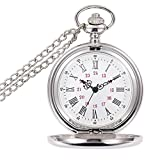 BestFire Pocket Watch Vintage Smooth Quartz Pocket Watch Classic Fob Watch with Short Chain for Men Women -- Gift Box for Birthday Anniversary Day Christmas Fathers Day (White)