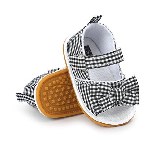 Sandali da Bambina, Bowknot Scarpe per Neonata Estive Scarpine Primi Passi (19 EU, Nero)