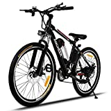 """Oldhorse Vélo Électrique de Montagne VTT 25"""" à 21 Vitesses E-Bike avec 36V Lithium-ION Batterie pour Hommes Femmes,Vitesses 25-35km/h,Noir (Prise UK)"""