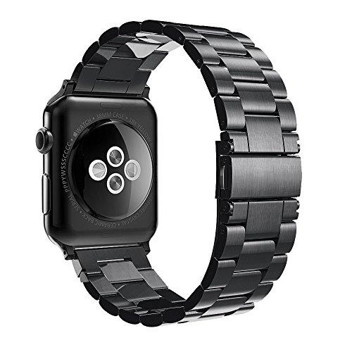 Simpeak Cinturino Sostituzione compatible per Apple Watch 38mm in Acciaio Inossidabile con chiusura pieghevole,Cinghia di Polso,Fibbia Apple Watch 38mm di Series 1/2/3 Versione 2015 2016 2017
