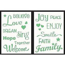 """GSS Designs Pack de 2 plantillas decorativas – 6"""" x 8.25"""" (150 x 210 mm) plantilla para pintar – palabras y citas ideas – diario, paredes, suelos, telas, vidrio, madera (SL-007)"""