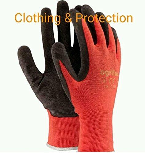 24pares Nuevo con revestimiento de látex guantes de trabajo duradero de seguridad Jardín Grip Builders, L - 9, negro/rojo, 60