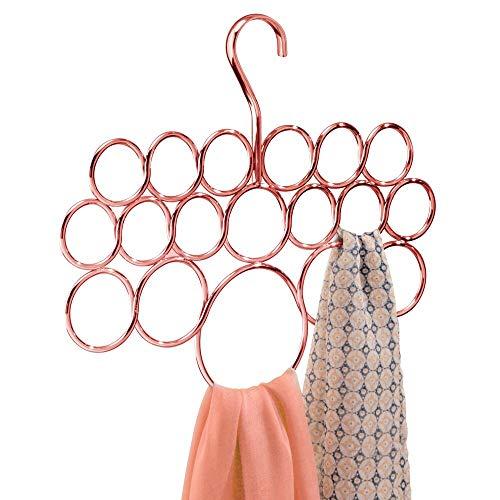mDesign Porta sciarpe in plastica - Capiente appendino sciarpe e cravatte con 18 anelli di...