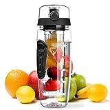 OMORC Botella Agua Deportiva, 1L Botella de Agua con Filtro Infusor de Fruta, sin BPA Reutilizable y Fitness para Niños, Oficina, Gimnasio, Yoga, Bici Incluye un Cepillo de Limpieza
