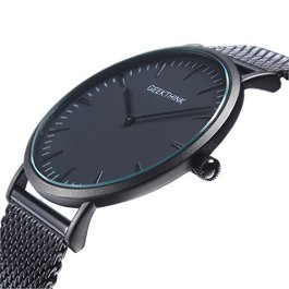 Affute Orologio da uomo, sottile, in stile minimalista, nero, in acciaio INOX a rete, impermeabile, al quarzo