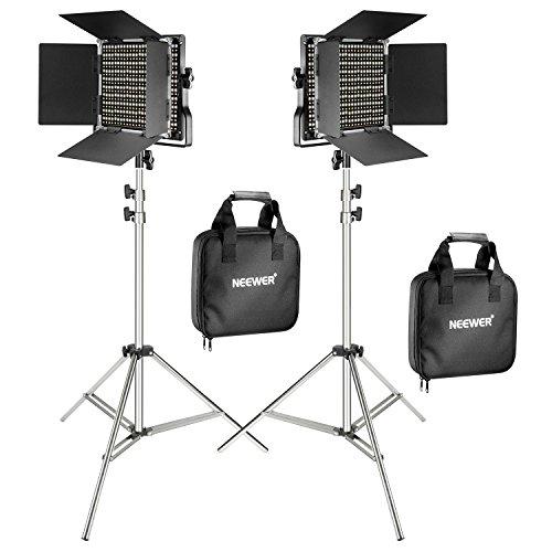 Neewer Pacchetto di due Luci LED 660 Illuminazione Video con Cavalletto in acciaio inox di 200cm...