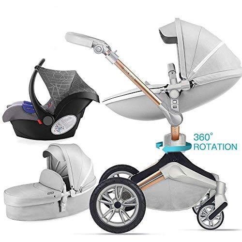 Hot Mom 3 in 1 Passeggino con passeggino e passeggino 360 passeggino girevole, sospensione reversibile in pelle PU ad alto paesaggio con ruote in PU, 2020 nuovo design-Grigio