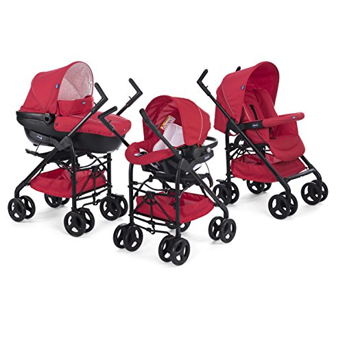 Chicco 07079366640000 Trio Sprint Passeggino con Kit Auto, Red Passion