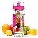 OMORC bottiglia acqua Detox 1litro con infusore di frutta, borraccia Detox di Tritan, senza BPA, a prova di perdite, con spazzolino di pulizia, portatile per sport, casa–rosa estiva