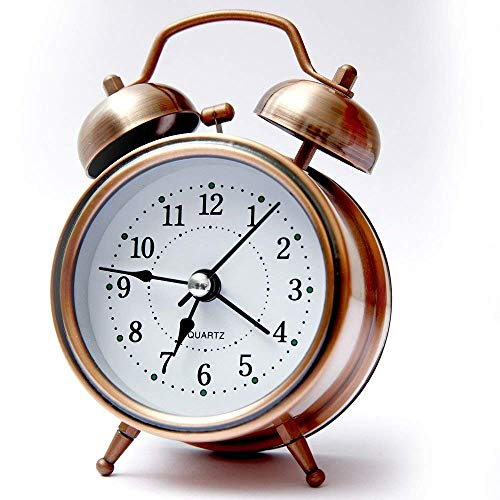 Paybox Analog Twin Bell Copper White Edition Vintage Look Table Alarm Clock with Night Led Display Copper Table Alarm Clock