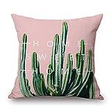 Funda De Lino Para Cojin Cactus Verde Con Fondo Rosa