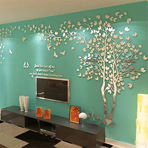 Albero Adesivo da Parete, Alberi e Uccelli 3D Adesivi Murali Arts Wall Sticker Decorativi per TV Par...