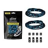 Xpand Lacets de chaussures élastiques, plats, avec tension réglable, sans nœud, compatibles avec toutes les chaussures - Bleu - Blu Camo, Taille unique EU