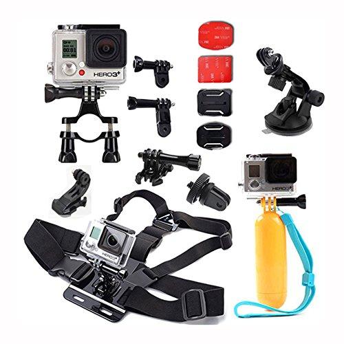 iBroz® - Premium Pack de Accesorios - Arnés para el pecho (chesty) + Correa para la cabeza + Soporte para barra, Manillar, Sillín + Flotante palo de mano con correa de muñeca + J-Hook Adaptador de montaje, para todas las cámaras GoPro Hero 4, 3+, 3, 2, 1 - Nilox F60 etc.. - SJ4000, SJ5000, SJ6000