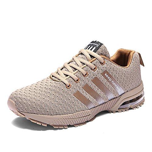 Damen Herren Laufschuhe Sportschuhe Turnschuhe Trainers Running Fitness Atmungsaktiv Sneakers(Beige,Größe 39)