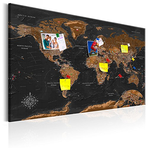 murando 120x80cm Mappa del Mondo per Il Fissaggio puntine & Quadro su Tela Pannello di Fibre Quadro...