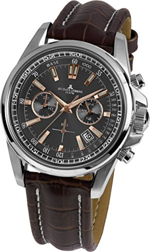 Jacques Lemans Herrenuhr Analog Quarz mit Lederarmband – 1-1117.1WN
