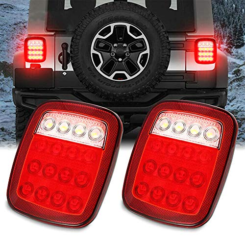 Ajboy, 2 luci quadrate con 16 LED per Jeep Wrangler JK TJ CJ YJ, ABS, 15 * 17.5 * 3.2CM