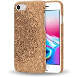 NALIA Corcho Funda para iPhone 8/7, Aspecto de Madera Carcasa Dura Ultra-Fina Hard-Case Cover, Cubierta Protectora Delgado Bumper para Telefono Movil Apple i-Phone 7/8, Designs:Cork Mandala
