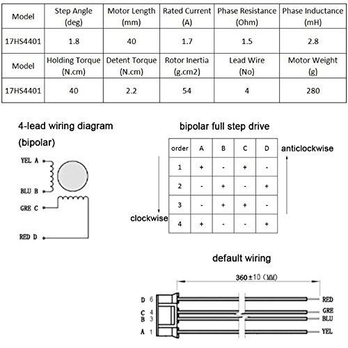 TopDirect Nema 17 Stepper Motor 1.7A 40Ncm(56.2oz.in) 2-Phase 4-Wire 1.8 Deg Stepper Motor for 3D Printer/CNC