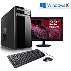 "Entertain PC IDV E1000 inkl. Windows 10 Home - AMD Quad-Core A10-7850K 4x 3700 MHz, 8GB RAM, 1TB HDD, 300MBit/s WLAN, 10in1 CardReader - 22"" LED Monitor, Tastatur-Maus Set"
