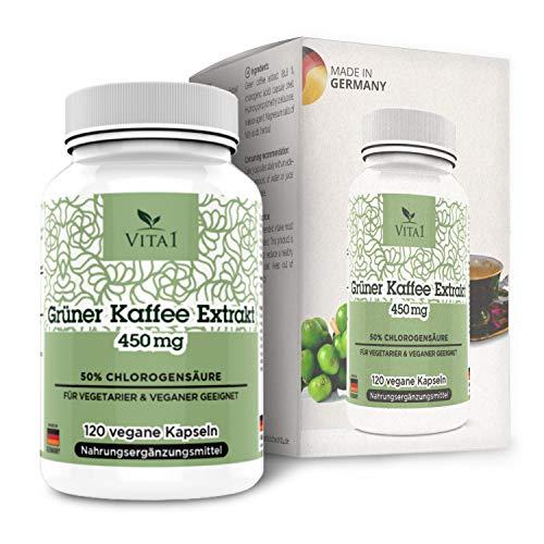 Estratto di Caffè Verde 450mg di VITA1 • 90 capsule (fornitura per 1 mese) • 10:1 estratto con 18 aminoacidi, potassio, calcio, magnesio e fosforo • Fatto in Germania