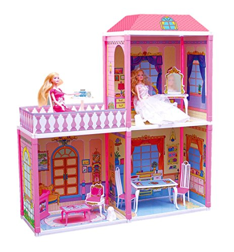 Toyzone My Pretty Doll House & Play Set for Girls (Multicolor)