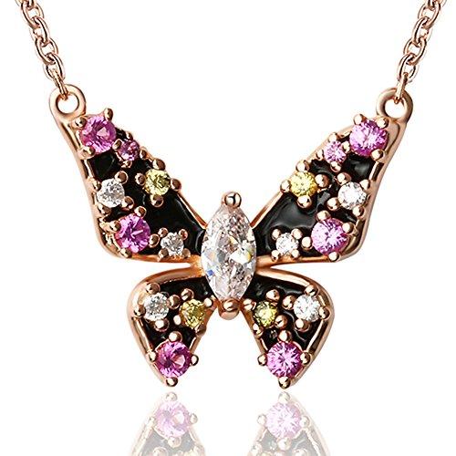 apotie 925plata de ley esmaltado gradiente pegamento Colgante de mariposa colgante con Zirconia cúbico para las mujeres
