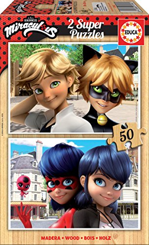 Educa Borrás – 2 x 50 Miraculous T2 Ladybug Puzzle, colore: unico, 17956)