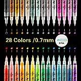 SUPERSUN 0.7mm Acrylstifte Feine Spitze, 28 Farben Acrylfarben Wasserfest Marker Holz Stift Farbe für Steine Bemalen, Holz, Leinwand, Fotoalbum, Glas, Metall
