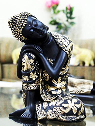 CraftJunction Black Golden Thinking Lord Buddha Showpiece(15 x 13 x 26 cm)