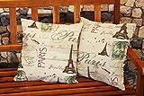 KAMACA Fundas para cojín, serie moderna vintage «Letter From Paris», color beige/antracita,de algodón y lino, diseño moderno, Impresión fotográfica, se pueden elegir caminos de mesa, manteles de centro y fundas de cojín con diseños fotográficos modernos en la tienda Kamaca (manteles de centro 85 x 85 cm)., toalla, Transparent / Grün, 2er SET Kissenhüllen