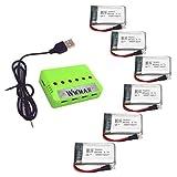 Wwman 6pcs 3.7V 550mah baterías y 1to6 cargador de batería para MJX X708 X708W Rc Quadcopter Drone piezas de repuesto