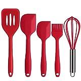 Deik Cucchiaio Café, utensili da cucina in silicone spatola, cucchiaio, spazzola, Frusta, Rosso, Set di 4