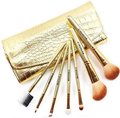 7Pcs Set De Brochas De Maquillaje Kit De Pala Pinceles Cosméticos Profesional Bolso Cosmético Del Patrón Del Cocodrilo Del Oro ,Gold