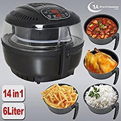 HEISSLUFTFRITTEUSE MULTI HEISSLUFT FRITTEUSE OHNE FETT MULTICOOKER MULTIKOCHER SUPPENKOCHER SUPPENMIXER REISKOCHER Heißluft-Multifritteuse Multibackofen & Suppenautomat & Reiskocher & Grill ECO AIR-PROFI SOUP DC-1400W SCHWARZ