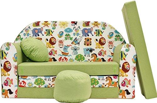 PRO COSMO Z5, Divano Letto per Bambini con Pouf/poggiapiedi/Cuscino, in Tessuto Verde, 168x 98x...