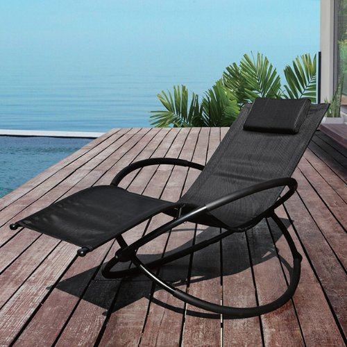 This GardenKraft Louis Moon Rocker Lounger boasts a unique, modern design featuring two interlocking hoops with zero gravity. Now this one is not only suitable for lazing in the garden but also indoors when reading a book. It may be little fiddly to assemble and there's obviously a knack to lying flat in it, but the moment you're in, you'll be set for some long-haul relaxation.