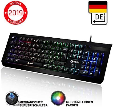 ⭐️KLIM™ Domination - DEUTSCHE - Mechanische RGB-QWERTZ-Tastatur - Neue 2019 - Blaue Tasten - Schneller Präziser Angenehmer Tastenanschlag - VOLLSTÄNDIGE FREIHEIT BEI DER FARBAUSWAHL PC PS4 Xbox One