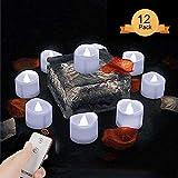 Aottom Velas LED para velas de té, sin llama, sin llama, 24 unidades, 60 horas de luz, funciona con pilas, velas falsas con mando a distancia para Halloween, Navidad, festival celebraciones