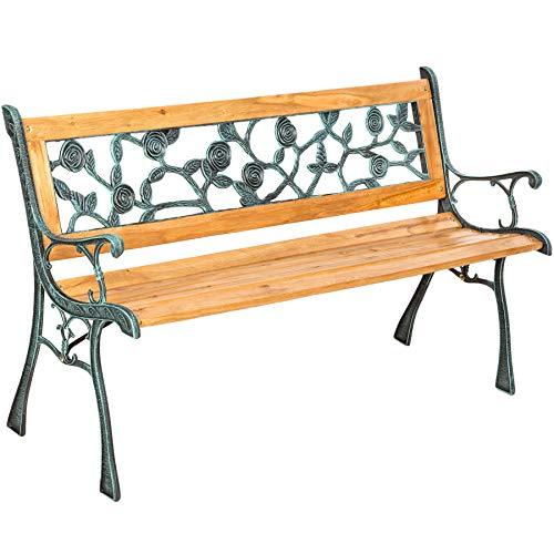 "TecTake Gartenbank Parkbank Holz - Diverse Modelle - (\""Marina\"" 124 x 52 x 74cm   Nr. 401424)"