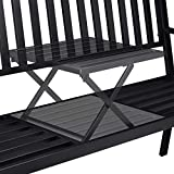 Relaxdays Gartenbank mit Klapptisch, 3-Sitzer, integrierte Tischablage, wetterfest, HxBxT 90 x 150 x 57,5 cm, schwarz - 6