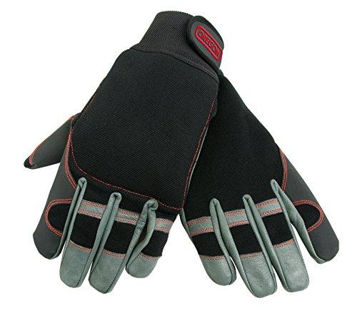 Oregon Scientific 295395 - Guanti protettivi in pelle elastica per la motosega, taglia L