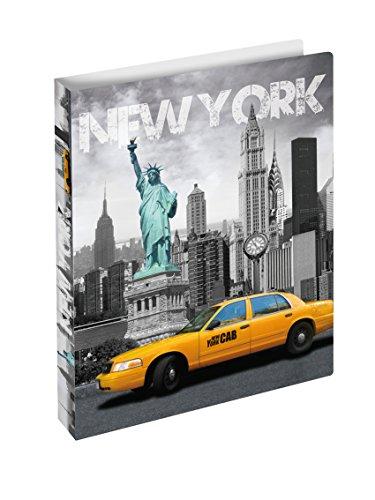 Herma 19132 Ringbuch DIN A4 mit Städte Motiv New York USA, Kunststoff, 2 Ringe, schmal, flexibel, leicht, 25 mm Rückenbreite, 1 Ringbuchmappe